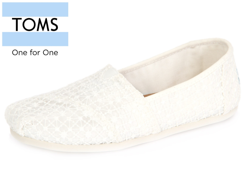 TOMS Classic 10009733 white crochet Lace