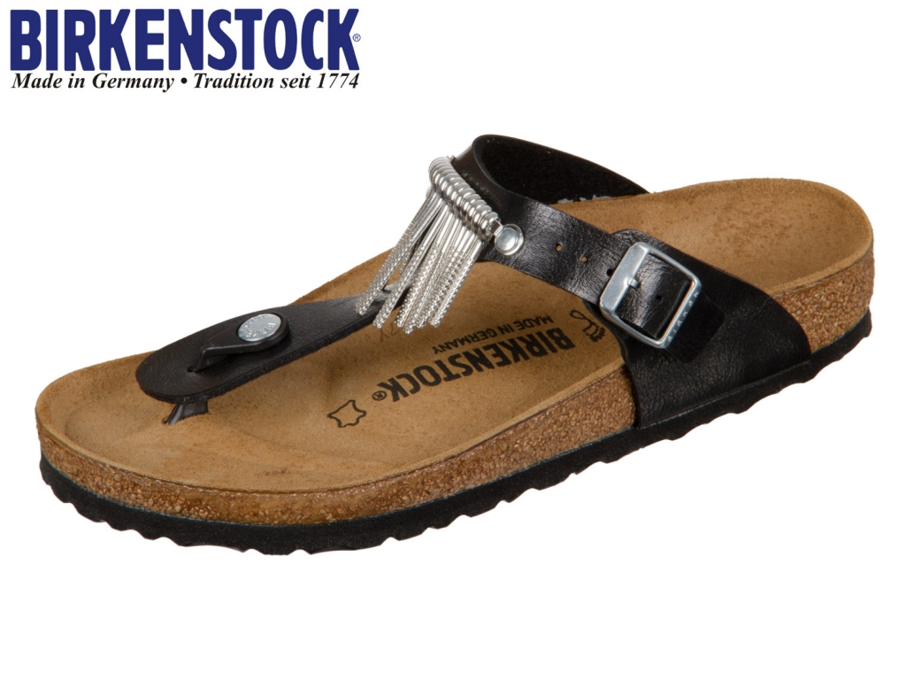 Birkenstock Gizeh Fringe 745421 licorice Graceful Fringe Birkoflor