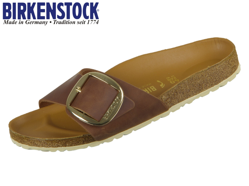 Birkenstock Madrid Big Buckle 1006525 cognac Natural Leather