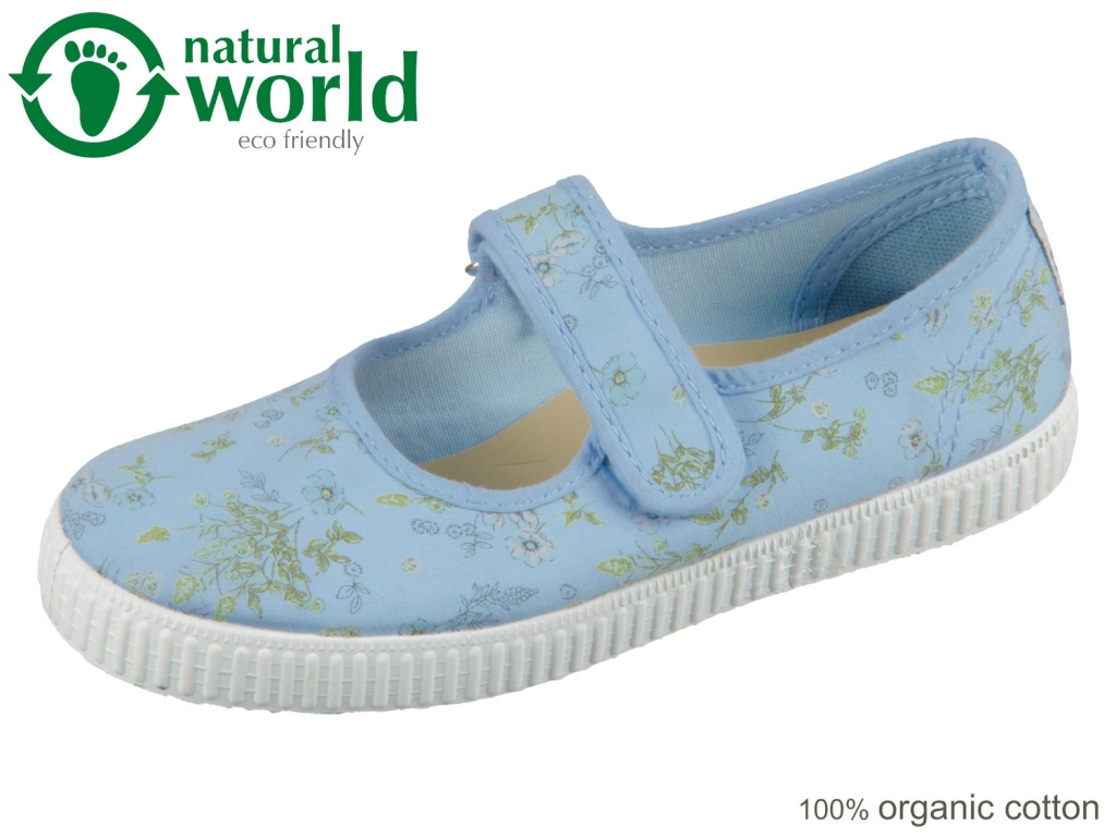 natural world W56996-93 azul sky organic cotton