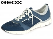 Geox D52F2B 01443 C4008 denim Mesh Smooth Leather