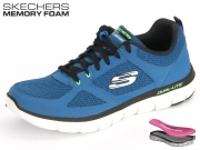 Skechers 52180-BLLM blue lime Trubuck Mesh Trim