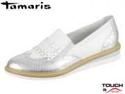 Tamaris 1-24305-20-197 white combi Mix Leder Textil