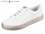 Tommy Hilfiger Sparkle Outsole GlitterSneaker FW0FW02798-100 white pink