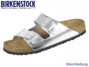 Birkenstock Arizona WB 1005961 metallic silver Naturleder SFB
