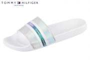 Tommy Hilfiger Pool Slide Shiny Iridescent FW0FW04086-100 white