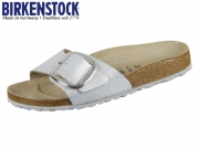 Birkenstock Madrid Big Buckle 1012886 washed metallic blue silver Nubuk