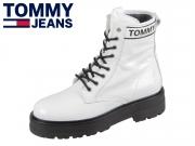 Tommy Hilfiger Patent Leather Platform Boot EN0EN00700-YBS white