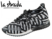 la strada Laced Up Knitted Sneaker 1802649-4502 black white knitted