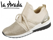 la strada Laced Up Sneaker with Wedge 1901188-4043 glitter gold knitted