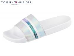 Tommy Hilfiger Pool Slide Shiny Iridescent FW0FW04086-100 white