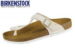 Birkenstock Gizeh 847431 shiny snake cream Birko Flor