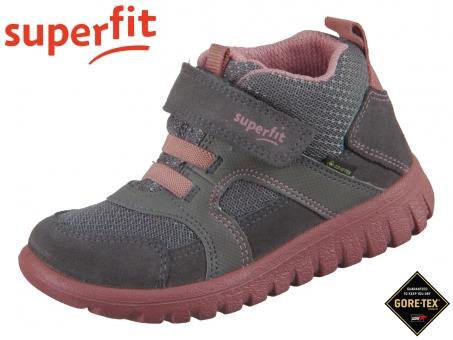 superfit Sport7 Mini 1-009198-2000 grau rosa Velour Textil Tecno