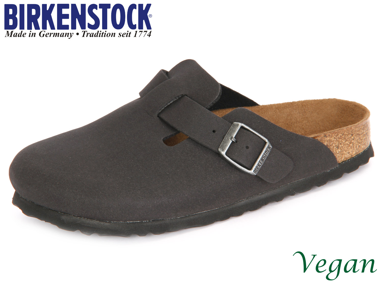 best service 32434 c988e Birkenstock Boston vegan 259543 anthracite Mikrofaser