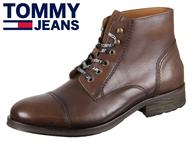 Yhdysvaltain halpa myynti ajaton muotoilu jaloilla kuvia Tommy Hilfiger Dressy Leather Lace Up Boot EM0EM00136-DRESSY 906 winter  cognac