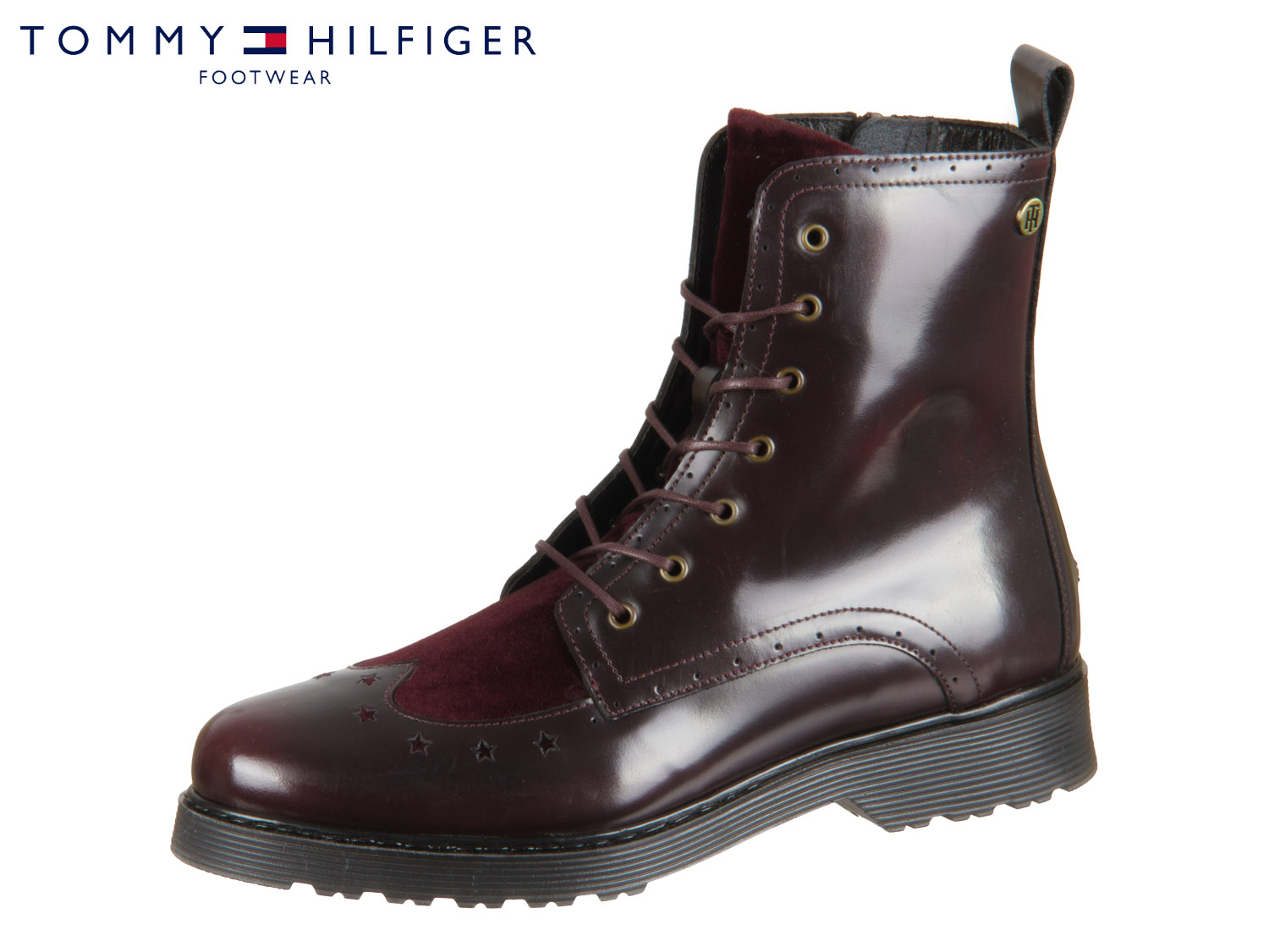 new product 906f1 be72e Tommy Hilfiger Modern Leather Lace Up Boot FW0FW03587-296 decadent chocolate