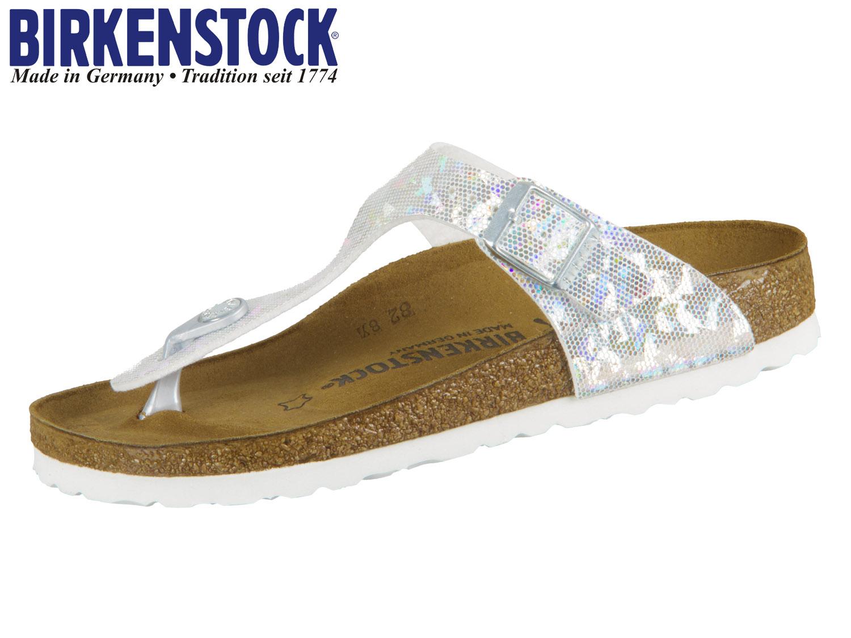 Details about Birkenstock Kids Gizeh Sandal Hologram Silver Birko Flor # 1008093